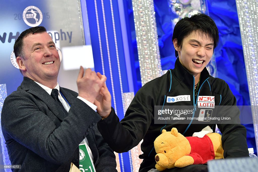 Yuzuru Hanyu of Japan and his coach <a gi-track='captionPersonalityLinkClicked' href=/galleries/search?phrase=Brian+Orser&family=editorial&specificpeople=1138867 ng-click='$event.stopPropagation()'>Brian Orser</a> celebrate after winning the NHK Trophy ISU Grand Prix of Figure Skating 2015 at the Big Hat on November 28, 2015 in Nagano, Japan.