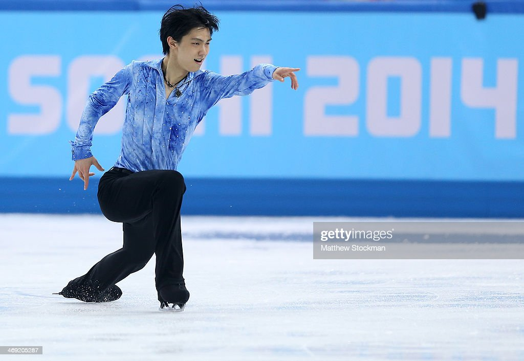 Yuzuru Hanyu of Japan competes during the Men's Figure Skating Short Program on day 6 of the Sochi 2014 Winter Olympics at the at Iceberg Skating Palace on February 13, 2014 in Sochi, Russia.