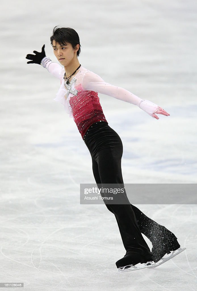 Yuzuru Hanyu of Japan competes in the Men's Free Skating during day two of the ISU Four Continents Figure Skating Championships at Osaka Municipal Central Gymnasium on February 9, 2013 in Osaka, Japan.