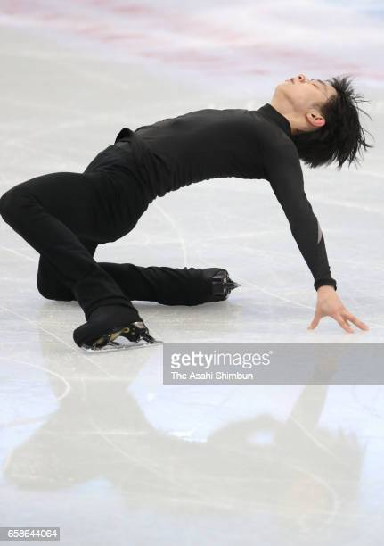 Yuzuru Hanyu of Japan in action during a practice session ahead of the World Figure Skating Championships on March 27 2017 in Helsinki Finland