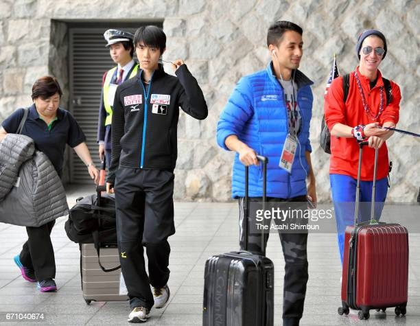 Yuzuru Hanyu of Japan is seen on arrival during day two of the ISU World Team Trophy 2017 at Yoyogi National Gymnasium on April 21 2017 in Tokyo Japan
