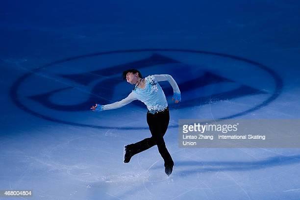 Yuzuru Hanyu of Japan perform during the Exhibition Program on day five of the 2015 ISU World Figure Skating Championships at Shanghai Oriental...