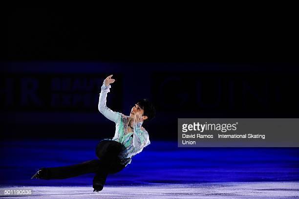 Yuzuru Hanyu of Japan performs at an exhibiton gala on day 4 of the ISU Junior Senior Grand Prix of Figure Skating Final 2015/2016 at the Barcelona...