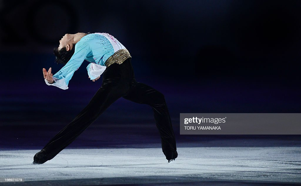 Yuzuru Hanyu of Japan performs during the exhibition event at the NHK Trophy, the last leg of the six-stage ISU figure skating Grand Prix series, in Rifu, northern Japan, on November 25, 2012. AFP PHOTO/Toru YAMANAKA