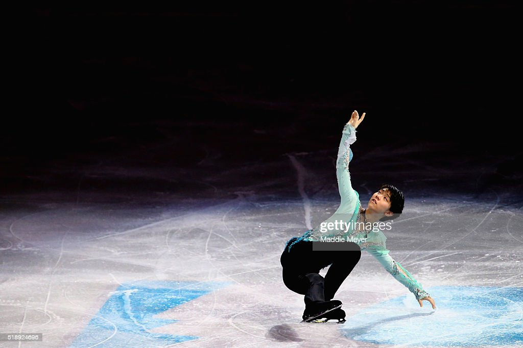 Yuzuru Hanyu of Japan performs during the Exhibition of Champions on Day 7 of the ISU World Figure Skating Championships 2016 at TD Garden on April 3, 2016 in Boston, Massachusetts.
