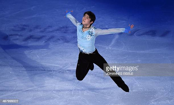 Yuzuru Hanyu of Japan performs during the exhibition show of the 2015 ISU World Figure Skating Championships at Shanghai Oriental Sports Center in...