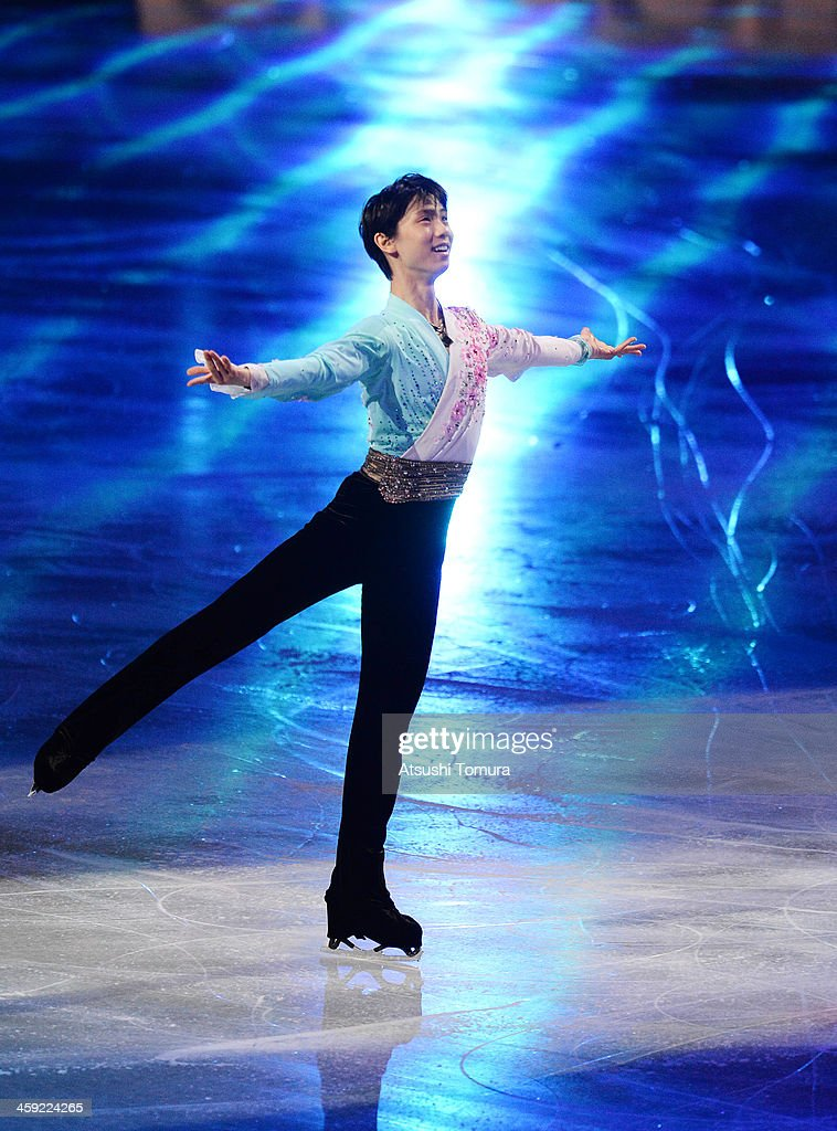 Yuzuru Hanyu of Japan performs his routine in the Gala exhibition during All Japan Figure Skating Championships at Saitama Super Arena on December 24, 2013 in Saitama, Japan.