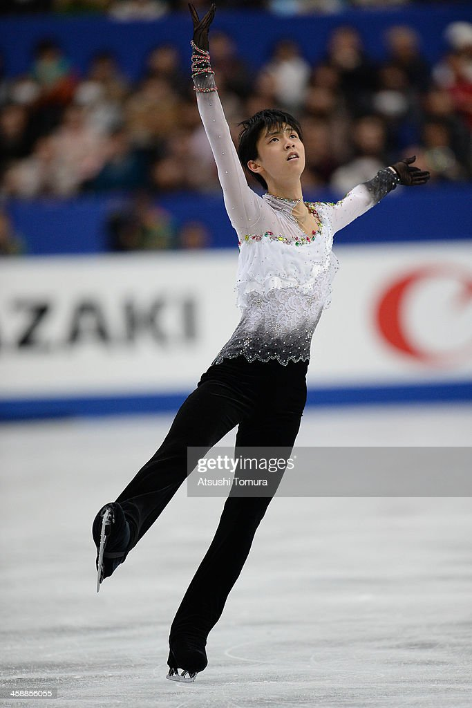 Yuzuru Hanyu of Japan performs in the men's free skating during All Japan Figure Skating Championships at Saitama Super Arena on December 22, 2013 in Saitama, Japan.