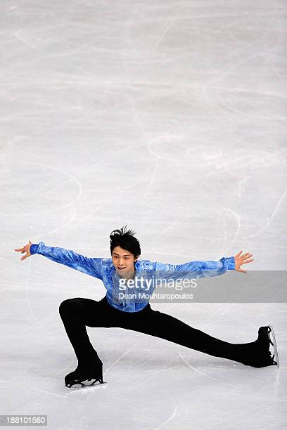 Yuzuru Hanyu of Japan performs in the Mens Short Program during day one of Trophee Eric Bompard ISU Grand Prix of Figure Skating 2013/2014 at the...
