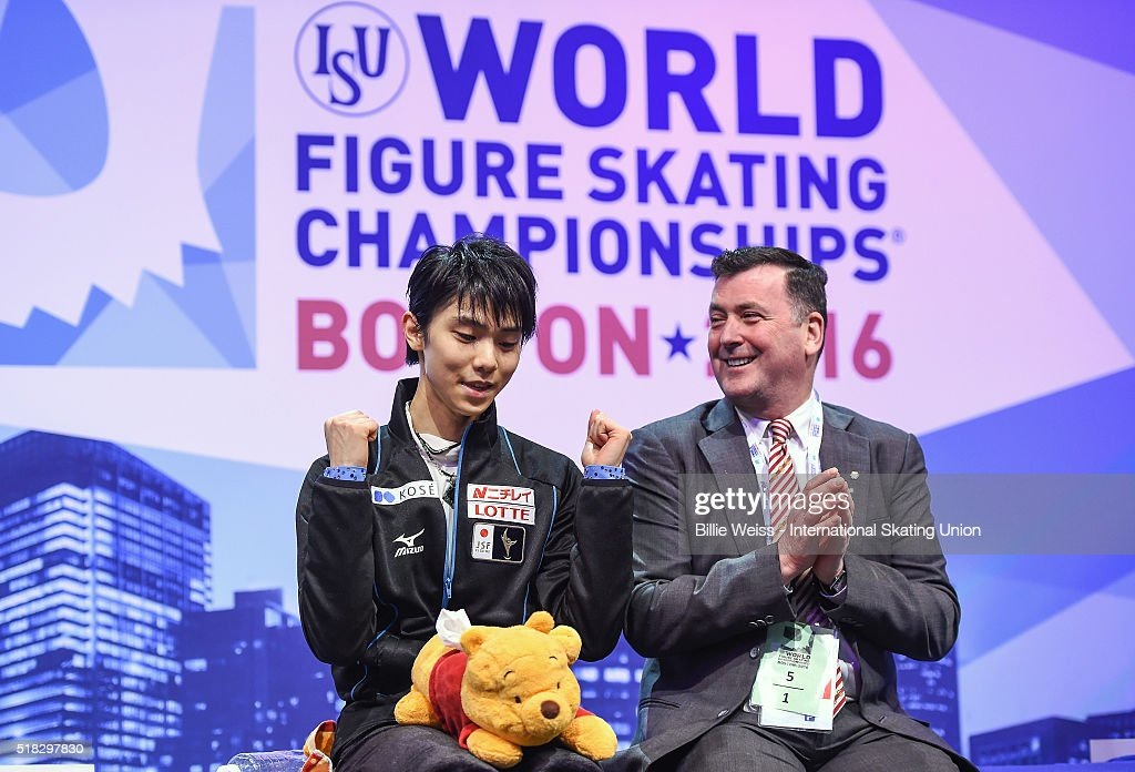 Yuzuru Hanyu of Japan reacts after competing and earning a first place score during Day 3 of the ISU World Figure Skating Championships 2016 at TD Garden on March 30, 2016 in Boston, Massachusetts.