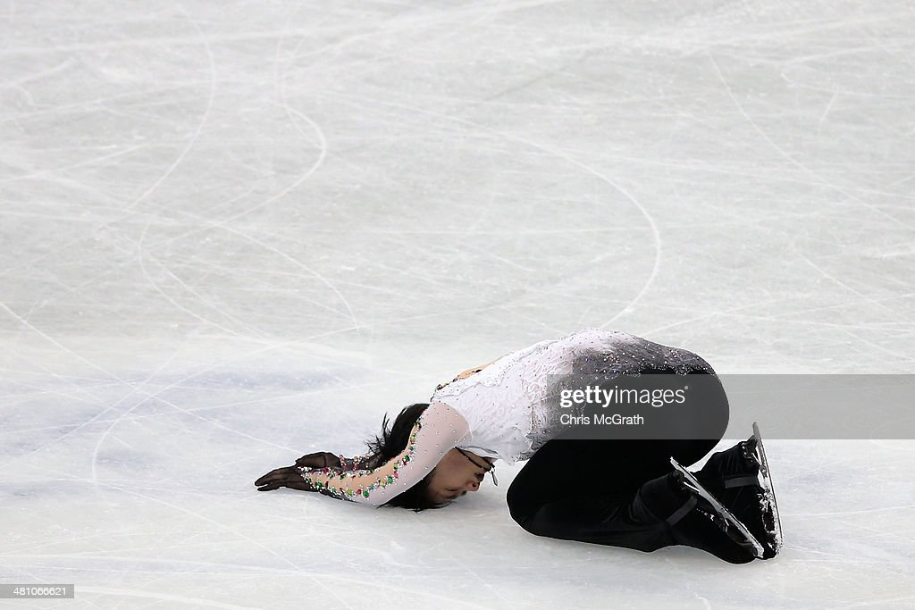 Yuzuru Hanyu of Japan reacts after finishing his routine in the Men's Free Skating during ISU World Figure Skating Championships at Saitama Super Arena on March 28, 2014 in Saitama, Japan.