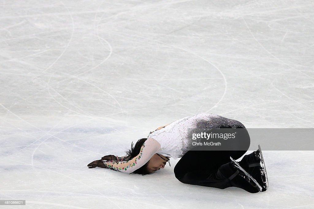 Yuzuru Hanyu of Japan reacts after finishing his routine in the Men's Free Skating during ISU World Figure Skating Championships at Saitama Super Arena on March 28, 2014 in Saitama, Japan.