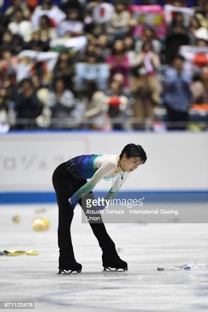 Yuzuru Hanyu of Japan reacts after performing his routine in the Men free skating during the 2nd day of the ISU World Team Trophy 2017 on April 21...