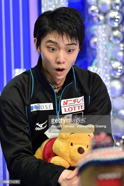 Yuzuru Hanyu of Japan reacts after viewing his winning score for the NHK Trophy ISU Grand Prix of Figure Skating 2015 at the Big Hat on November 28...