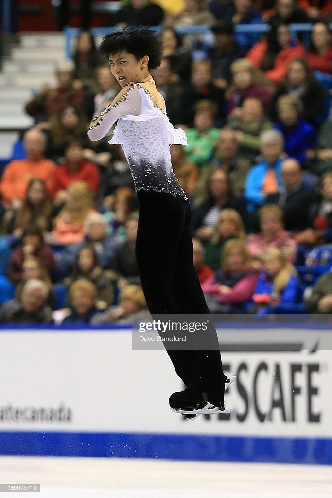 Yuzuru Hanyu of Japan skates during the men's free program on day two at the ISU GP 2013 Skate Canada International at Harbour Station on October 26, 2013 in Saint John, New Brunswick, Canada.