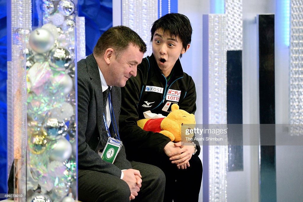 Yuzuru Hanyu of Japan talks with his coach <a gi-track='captionPersonalityLinkClicked' href=/galleries/search?phrase=Brian+Orser&family=editorial&specificpeople=1138867 ng-click='$event.stopPropagation()'>Brian Orser</a> at the kiss and cry after competing in the Men's Free Skating during day two of the NHK Trophy ISU Grand Prix of Figure Skating 2015 at the Big Hat on November 28, 2015 in Nagano, Japan.
