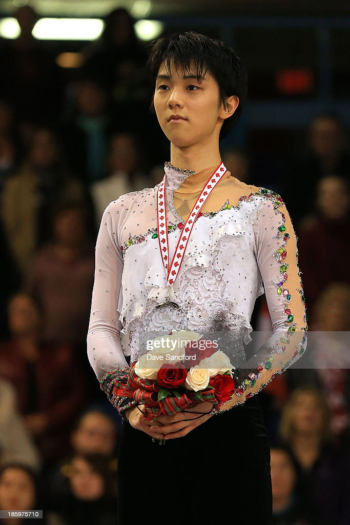 Yuzuru Hanyu of Japan wins the silver medal in the men's free program on day two at the ISU GP 2013 Skate Canada International at Harbour Station on October 26, 2013 in Saint John, New Brunswick, Canada.