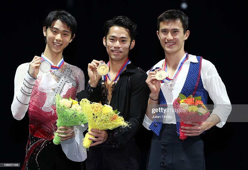 Yuzuru Hanyu of Japan with his silver medal, Daisuke Takahashi of Japan with his gold medal and Patrick Chan of Canada with his bronze medal after the Mens Free Skating during the Grand Prix of Figure Skating Final 2012 at the Iceberg Skating Palace on December 8, 2012 in Sochi, Russia.