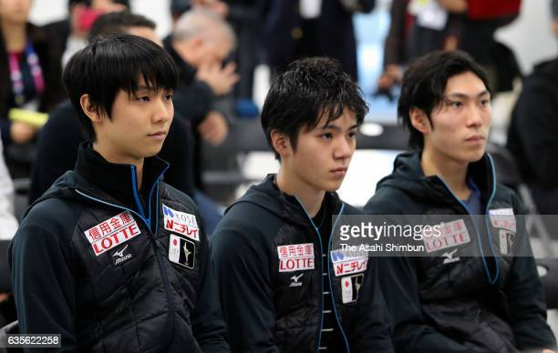 Yuzuru Hanyu Shoma Uno and Keiji Takana of Japan attend a draw for the Men's Singles Short Program during day one of the ISU Four Continents Figure...