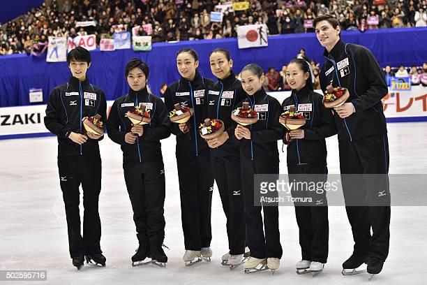 Yuzuru Hanyu Shoma Uno Rika Hongo Mao Asada Satoko Miyahara Sumire Suto and Francis BoudereauAuded of Japan pose for photo session after they were...