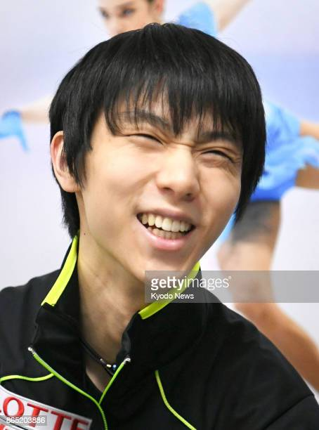 Yuzuru Hanyu smiles while speaking to the media on Oct 22 a day after the figure skating Rostelecom Cup in Moscow ==Kyodo