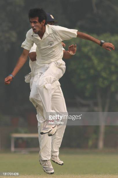 Yuzvendra Chahal during the Ranji match at Roshnara Club Ground in New Delhi on Friday