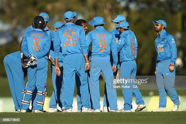 Yuzvendra Chahal of India A celebrates with his team mates after dismissing Kane Richardson of Australia during the Cricket Australia Winter Series...