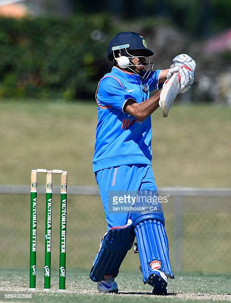 Yuzvendra Singh Chahal of India A bats during the One Day match between Australia A and India A at Tony Ireland Stadium on August 14 2016 in...