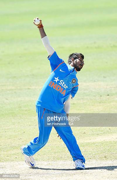 Yuzvendra Singh Chahal of India A bowls during the One Day match between Australia A and India A at Tony Ireland Stadium on August 14 2016 in...