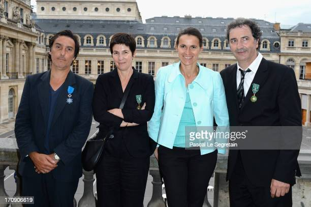Yvan Attal Christine Angot Aurelie Filippetti and Francois Morel pose after the Honour Ceremony hosted by the French Ministry of Cultural Affairs at...