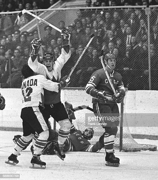 Yvan Cournoyer hugs Paul Henderson after Henderson's goal won the eightgame Summit Series against the Soviet Union on Sept 28 1972 Frank...