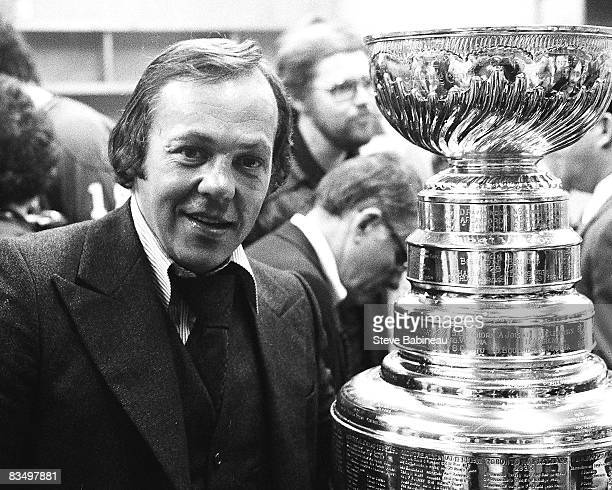 Yvan Cournoyer of the Montreal Canadiens celebrates Stanley Cup victory against the Boston Bruins at Boston Garden