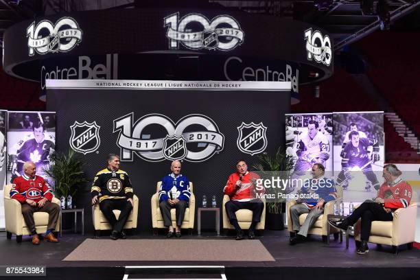 Yvan Cournoyer Ray Bourque Dave Keon Frank Mahovlich Rod Gilbert and Denis Savard take part in a discussion during a private event for season ticket...