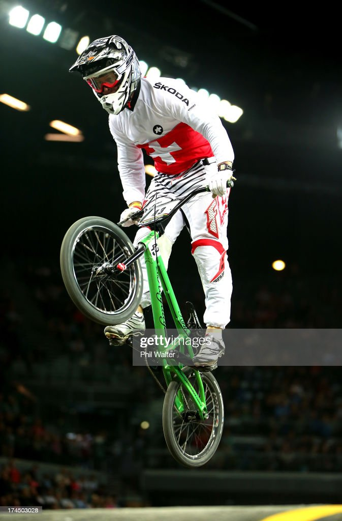 Yvan Lapraz of Switzerland competes in the Junior Mens time trial during day four of the UCI BMX World Championships at Vector Arena on July 27, 2013 in Auckland, New Zealand.