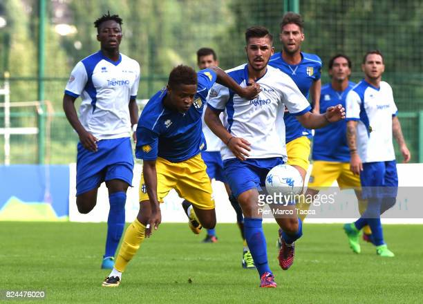 Yves Baraye of Parma Calcio competes for the ball during the preseason friendly match between Parma Calcio and Dro on July 30 2017 in Pinzolo near...