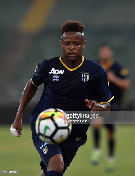 Yves Baraye of Parma Calcio in action during the TIM Cup match between AS Bari and Parma Calcio at Stadio San Nicola on August 6 2017 in Bari Italy
