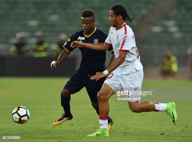 Yves Baraye of Parma Calcioand Andres Tello of AS Bari in action during the TIM Cup match between AS Bari and Parma Calcio at Stadio San Nicola on...