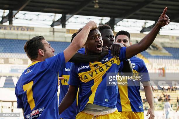 Yves Baraye of Parma celebrates durnig the Serie D match between Parma Calcio 1913 and Romagan Centro at Stadio Ennio Tardini on November 1 2015 in...