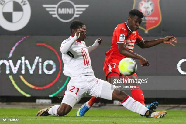 Yves Bissouma of Lille and Faitout Maouassa of Rennes during the Ligue 1 match between Stade Rennais and Lille OSC at Roazhon Park on October 21 2017...