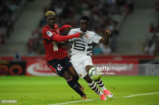 Yves Bissouma of Lille and Faitout Maouassa of Rennes during the Friendly match between Lille and Rennes at Stade Pierre Mauroy on July 29 2017 in...