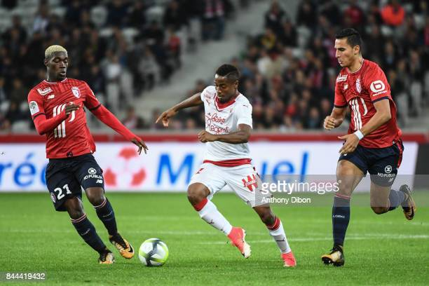 Yves Bissouma of Lille Francois Kamano of Bordeaux and Anwar El Ghazi of Lille during the Ligue 1 match between Lille OSC and FC Girondins de...