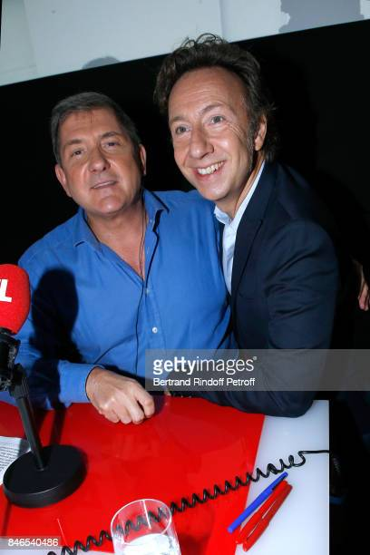 Yves Calvi and Stephane Bern attend the RTL RTL2 Fun Radio Press Conference to announce their TV Schedule for 2017/2018 at Elysee Biarritz at Cinema...