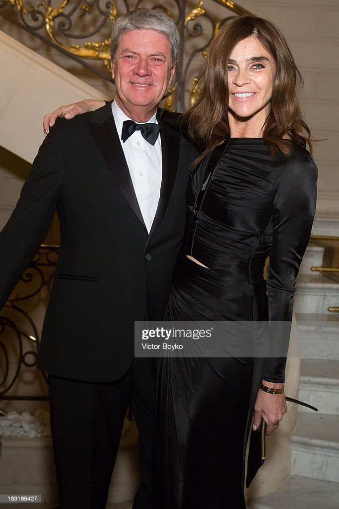 Yves Carcelle and Carine Roitfeld attend 'CR Fashion Book Issue 2' Carine Roitfeld Cocktail as part of Paris Fashion Week at Hotel ShangriLa on March...