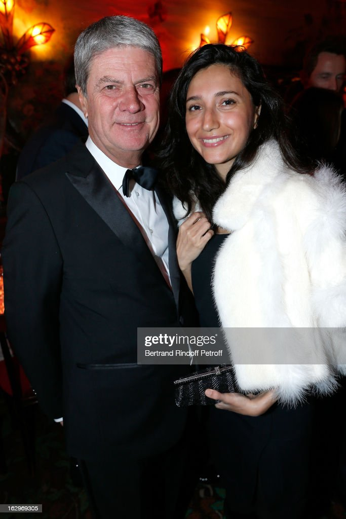 Yves Carcelle and Nadia Jalaluddin attend Pierre Pelegry's birthday party at Maxim's on March 1 2013 in Paris France