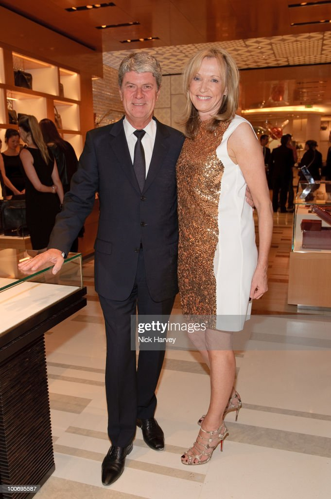 Yves Carcelle and Sue Whiteley attend the launch of the Louis Vuitton Bond Street Maison on May 25 2010 in London England