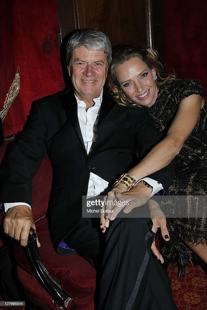 Yves Carcelle and Uma Thurman attend the Irreverent Dinner At Raspoutine hosted by Carine Roitfeld Paris Fashion Week Spring / Summer 2012 at Cabaret...