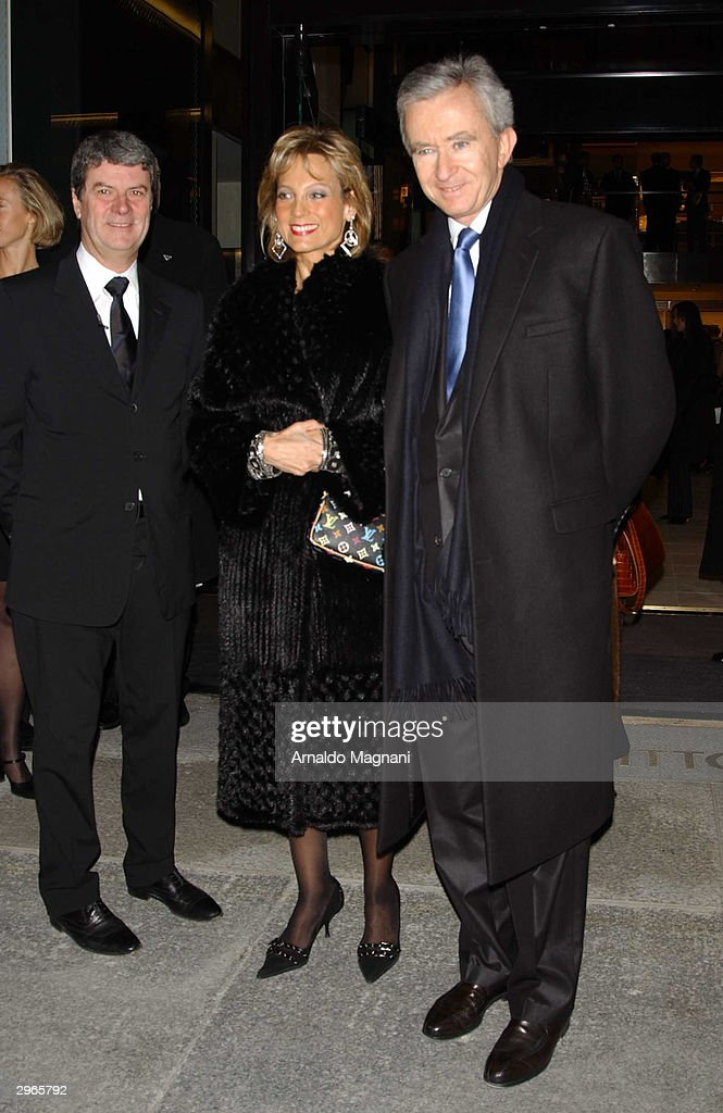 Yves Carcelle Hellen Arnault and Bernard Arnault attend the opening of a Louis Vuitton store and 150th anniversary celebration at 57th Street and 5th...