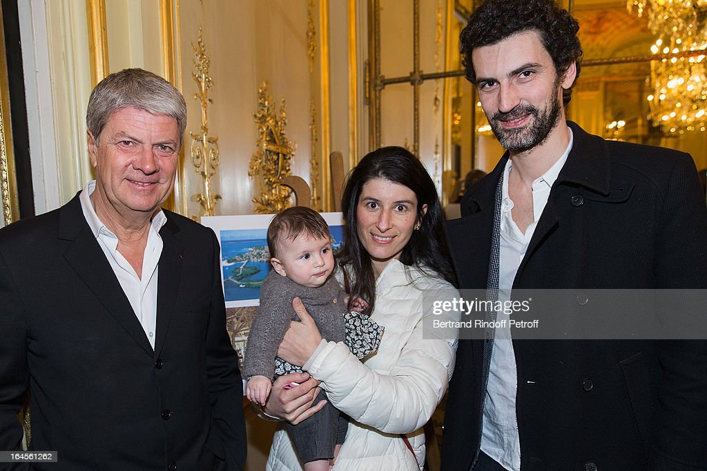 Yves Carcelle his son Xavier and Xavier's wife Sonia attend the benefit party in aid of the 'Chirurgie Plus' association at Hotel Meurice on March 24...
