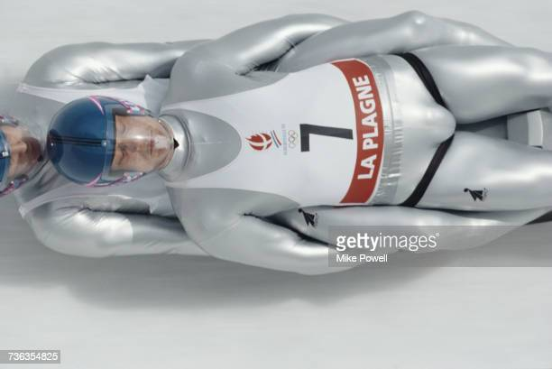 Yves Mankel and Thomas Rudolph of Germany compete in the Men's Luge Doubles during the XVI Olympic Winter Games at La Plagne bobsleigh luge and...