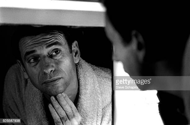 Yves Montand backstage during the run of An Evening With Yves Montand at the John Golden Theatre